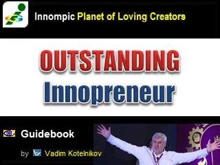 OUTSTANDING INNOMPORENEUR Innompic Guidebook, Vadim Kotelnikov, creative marketing example hands