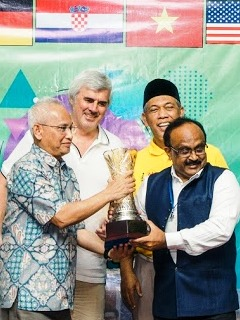 Wolrd 3rd Innompic Games 2019 cup handed over by Malaysia to India host country Satendra Kumar KIET