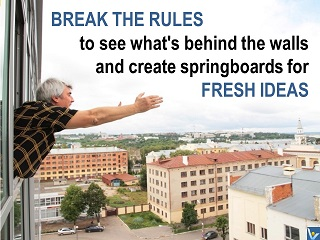 Message to the world on innovation, Break rules quotes, fresh ideas, Vadim Kotelnikov photogram