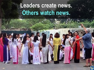 Leaders create news, followers watch new, leadership quotes, Vadim Kotelnikov photogram