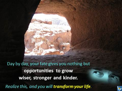 Vadim Kotelnikov quotes Life - Day by day, your fate gives you nothing but opportunities to grow wiser, stronger and kinder. Realize this, and you will transform your life.